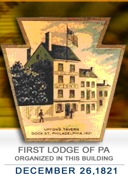First IOOF Lodge in Pennsylvania, Decmeber 26, 1821.